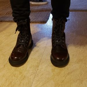 Cherry colored combat boots